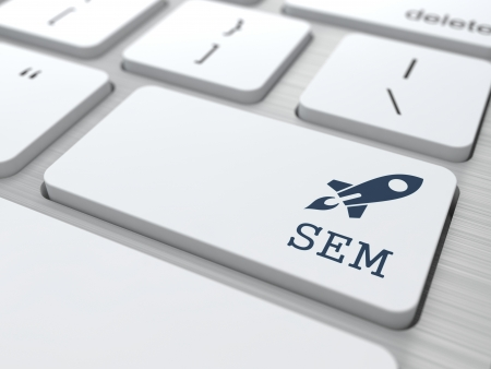 sem: White Button with SEM on Computer Keyboard. Internet Concept.
