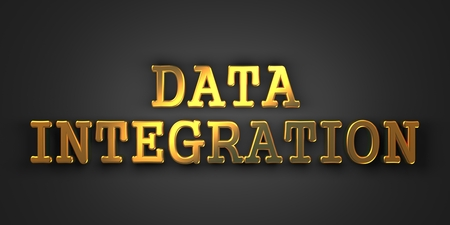 Data Integration - Information Concept. Gold Text on Dark Background. 3D Render. photo