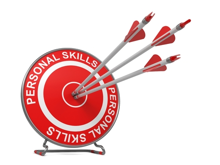 self discovery: Personal Skills - Business Concept. Three Arrows Hitting the Center of a Red Target, where is Written Personal Skills.