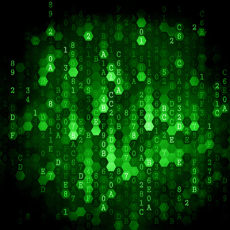 Digital Background. Pixelated Series Of Numbers Of Light Green Color Falling Down. photo
