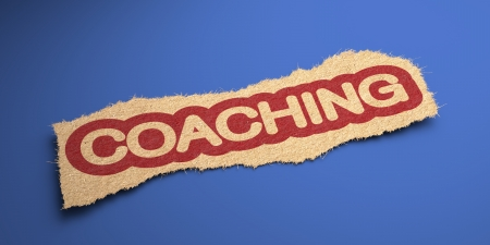 Coaching Word of Rough Paper, Circled in Red, on Blue Background. Business Concept. 3D Render. photo