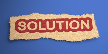Solution Word of Rough Paper, Circled in Red, on Blue Background. Business Concept. 3D Render. Stock Photo - 22610720