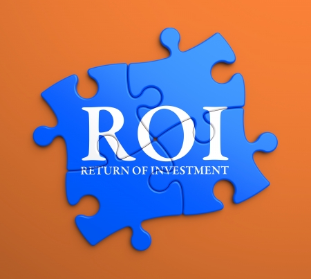 debt goals: ROI - Return Of Investment - Written on Blue Puzzle Pieces on Orange Background. Business Concept.