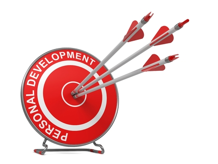 self discovery: Personal Development - Business Concept. Three Arrows Hitting the Center of a Red Target, where is Written Personal Development.