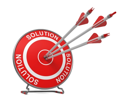 Solution - Business Background. Three Arrows Hitting the Center of a Red Target, where is Written