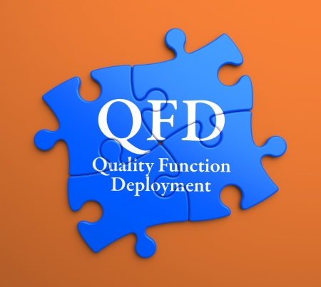 product design specification: QFD - Quality Function Deployment - Written on Blue Puzzle Pieces on Orange Background. Business Concept.