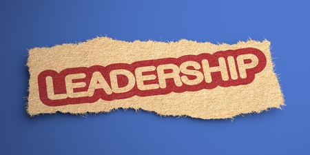 Leadership Word of Rough Paper, Circled in Red, on the Inclined Blue Background. Business Concept. 3D Render. photo