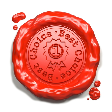 Best Choice - Stamp on Red Wax Seal Isolated on White. Business Concept. 3D Render. Stock Photo - 22610748