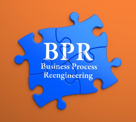 business process reengineering: BPR - Business Process Reengineering - Written on Blue Puzzle Pieces on Orange Background. Business Concept.