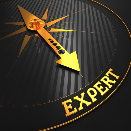 Expert - Business Background. Golden Compass Needle on a Black Field Pointing to the Word