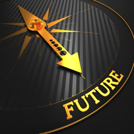 change concept: Future - Business Background. Golden Compass Needle on a Black Field Pointing to the Word Future. 3D Render.