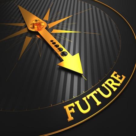 """chronologie: Future - Historique de l'entreprise. Golden Compass aiguille sur un champ noir pointant vers le mot """"avenir"""". Rendu 3D."""