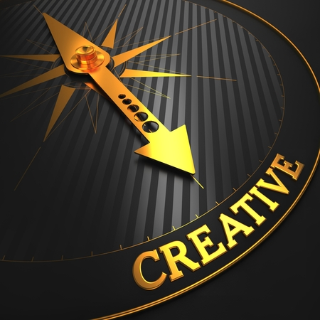 originative: Creative - Business Background. Golden Compass Needle on a Black Field Pointing to the Word Creative. 3D Render. Stock Photo