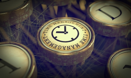 Time Management Button on Old Typewriter. Business Concept. Grunge Background for Your Publications. photo