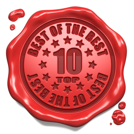 Top 10 in Charts Best of the Best - Stamp on Red Wax Seal Isolated on White  Business Concept  3D Render  photo