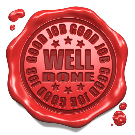 reconnaissance: Good Job, bien r�alis� - Timbre sur sceau de cire rouge isol� sur fond blanc Concept Rendu 3D