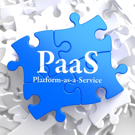 deployment: PAAS - Platform-as-a-Service - Written on Blue Puzzle Pieces  Information Technology Concept  3D Render