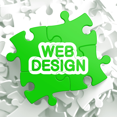 Web Design Written on Light Green Puzzle Pieces  Internet Concept  3D Render  Stock Photo - 22893164