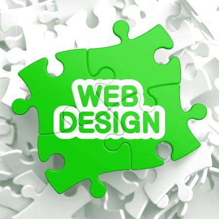 Web Design Written on Light Green Puzzle Pieces  Internet Concept  3D Render Stock Photo - 22893164