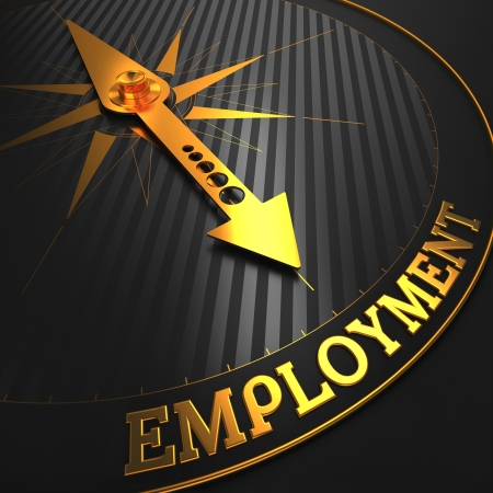 Employment - Business Concept  Golden Compass Needle on a Black Field Pointing to the Word  Employment   3D Render  photo