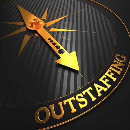 peo: Outstaffing - Business Concept  Golden Compass Needle on a Black Field Pointing to the Word  Outstaffing   3D Render