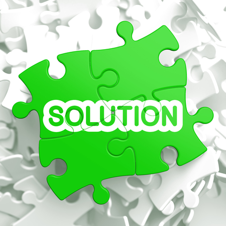 Solution Written on Light Green Puzzle Pieces  Business Concept   3D Render  photo