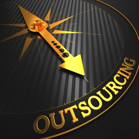 out of production: Outsourcing - Business Concept  Golden Compass Needle on a Black Field Pointing to the Word  Outsourcing   3D Render  Stock Photo