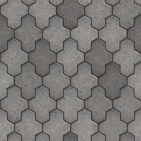 Gray Paving Slabs Consisting of Combined Hexagons  Seamless Tileable Texture  photo