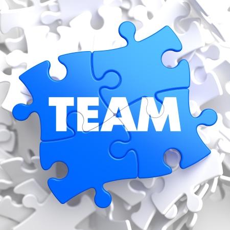 Team Written on Blue Puzzle Pieces  Business Concept   3D Render  photo