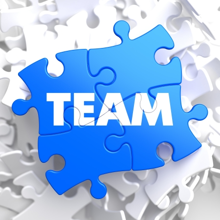 Team Written on Blue Puzzle Pieces  Business Concept   3D Render  Stock Photo