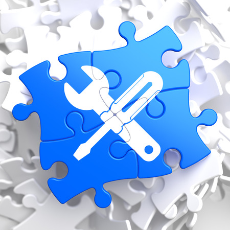 Service Concept - Icon of Crossed Screwdriver and Wrench - Located on Blue Puzzle Pieces. Business  Background. photo