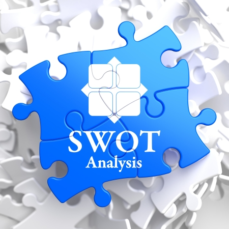 SWOT Analisis  Written on Blue Puzzle Pieces. Business Concept. photo