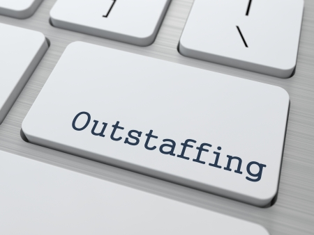 peo: Outstaffing. Button on Modern Computer Keyboard. Business Concept. 3D Render. Stock Photo