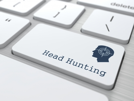 headhunting: Headhunting. Button on Modern Computer Keyboard with Thematic Icon. Business Concept. 3D Render. Stock Photo