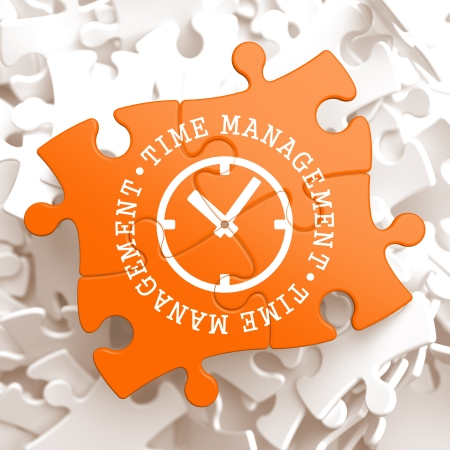 Time Management with Icon of Clock Face Written on Orange Puzzle Pieces. Business Concept.