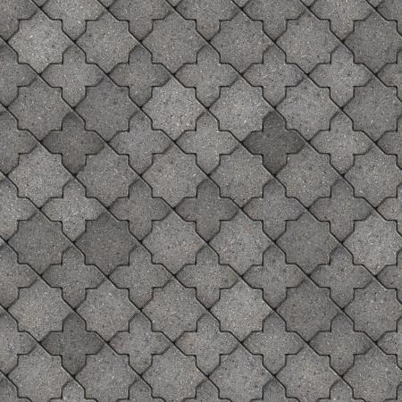 figured: Gray Figured Pavement. Seamless Tileable Texture. Stock Photo