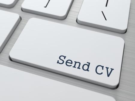 cv: Inviare CV. Pulsante sulla tastiera del computer moderno. Concetto di business. Rendering 3D.