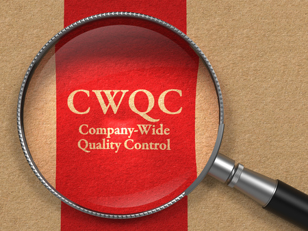defects: CWQC- Company-Wide Quality Control - Concept: Magnifying Glass with CWQC on Old Paper with Red Vertical Line Background.