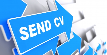 """cv: Inviare CV - Business sfondo. Freccia blu con """"Invia CV"""" slogan su uno sfondo grigio. Rendering 3D."""