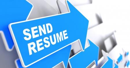 slogan: Enviar curriculum vitae - Business Background Blue Arrow en Enviar Curr�culum Slogan sobre un fondo gris 3D Render