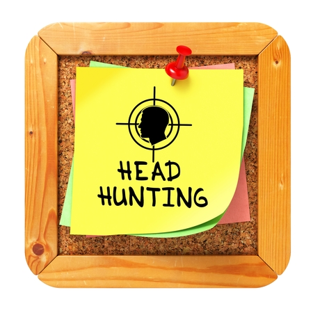 Headhunting, Yellow Sticker on Cork Bulletin or Message Board  Business Concept  3D Render  photo