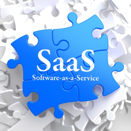 SAAS - Software-as-a-Service - Written on Blue Puzzle Pieces  Information Technology Concept  3D Render