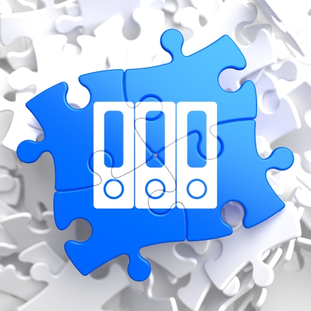 Data Concept Located on Blue Puzzle Pieces  photo