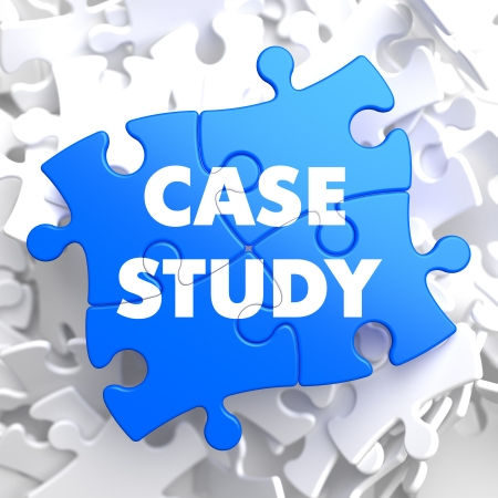 Case Study  Written on Blue Puzzle Pieces  Educational Concept  photo