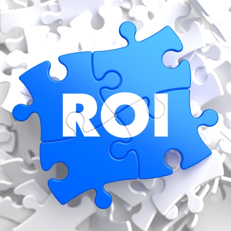 roi: ROI - Return Of Investment - Written on Blue Puzzle Pieces. Business Concept.