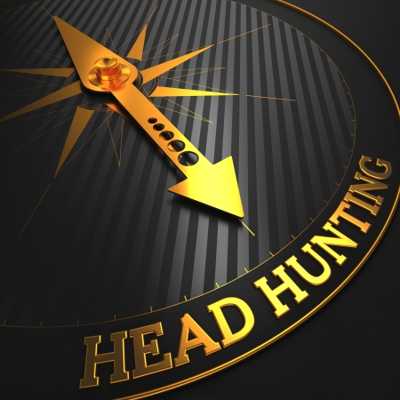 headhunting: Headhunting - Business Concept. Golden Compass Needle on a Black Field Pointing to the Word Headhunting. 3D Render.