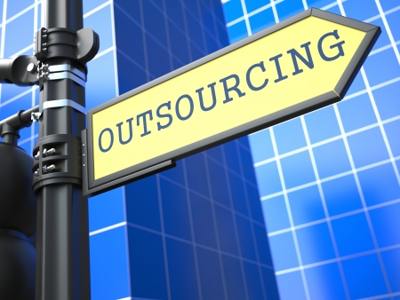 outsourcing: Outsourcing Word on Yellow Roadsign on Blue Urban Background. Business Concept. 3D Render.