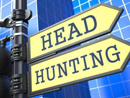 headhunting: Headhunting Word on Yellow Roadsign on Blue Urban Background. Business Concept. 3D Render.