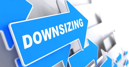 downsizing: Downsizing - Business Background. Blue Arrow with Downsizing Slogan on a Grey Background. 3D Render.