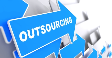 Outsourcing - Business Background  Blue Arrow with  Outsourcing  Slogan on a Grey Background  3D Render